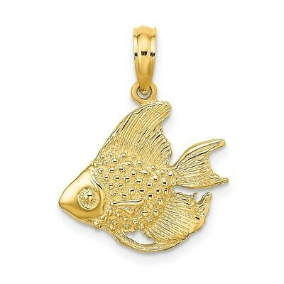 14K Yellow Gold Textured FISH Charm Pendant • 118.97$