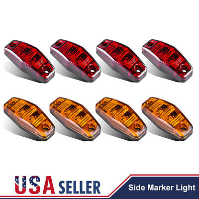 4 Red+4 Amber Truck Trailer RV Boat LED 2 Diode 2.5  Oval Side Marker Light Lamp • 14.55$