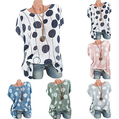 AU16.14 • Buy Womens Short Sleeve Linen Loose T Shirt Summer Casual Blouse Tee Tops Plus Size