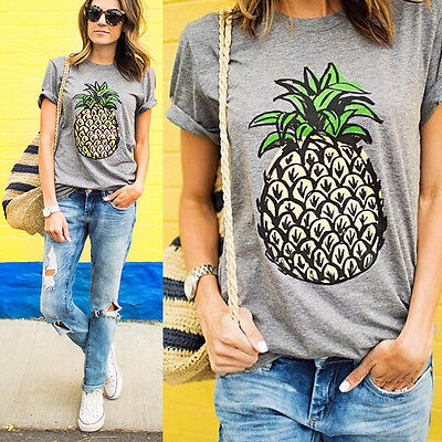 AU9.97 • Buy Womens Short Sleeve T Shirt Pineapple Print Summer Casual Blouse Top Shirts Tee