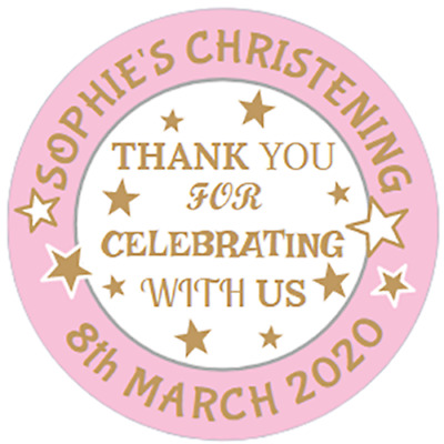 48 Personalised Christening Baptism Stickers Sweet Cone Labels  40mm  • 3.75£