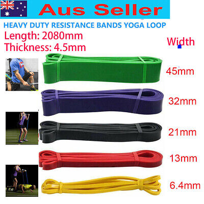 AU25.59 • Buy HEAVY DUTY RESISTANCE BAND YOGA LOOP HOME GYM FITNESS EXERCISE 5 Size For Choice
