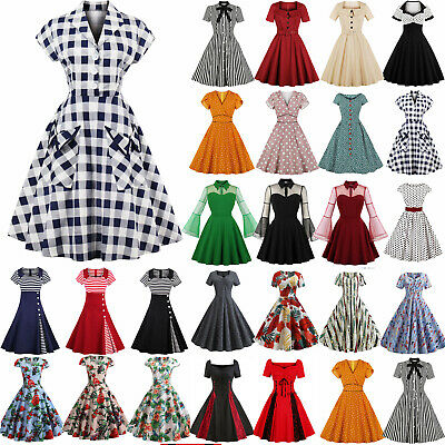 AU46.07 • Buy Womens 50s 60s Vintage Style Pinup Swing Party Rockabilly Housewife Dress