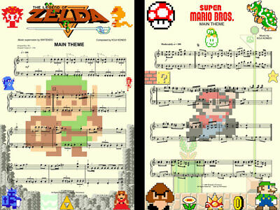 $15.99 • Buy Zelda And Mario Brothers Music Game 8-bit Art 11 X 17 (2) High Quality Posters