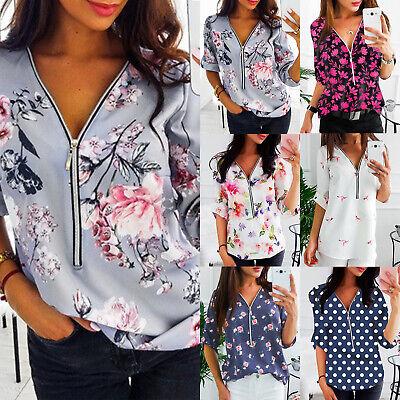 AU16.05 • Buy Womens Long Sleeve  V Neck Tunic Tops Zipper Blouse T-Shirt Pullover Plus Size