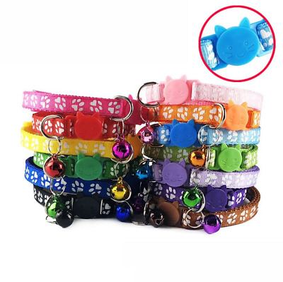 Safety-Release Cat Collar Cute Paw Print Adjustable Kitten Collar Bell Cats • 3.99£