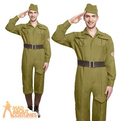 Adult Mens World Wartime Soldier Costume Army WW1 Military Fancy Dress Outfit  • 18.49£