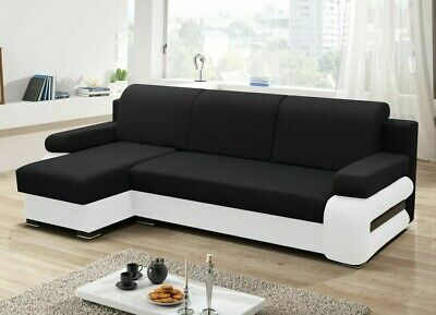 Corner Sofa Bed GREY With Storage Container Sleep Function Springs New • 530£