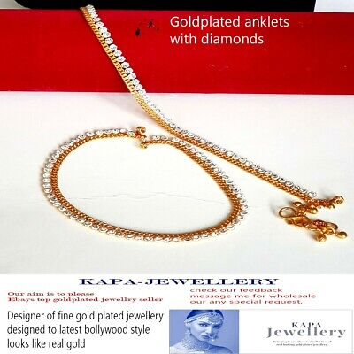 £9.95 • Buy Stunning Diamante Anklet Ankle Chain Indian Payal Bollywood Single Or Pair