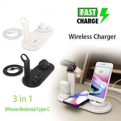 AU25.88 • Buy 3in1 Qi Wireless Charger Fast Charging Dock Stand For Airpods Apple Watch IPhone