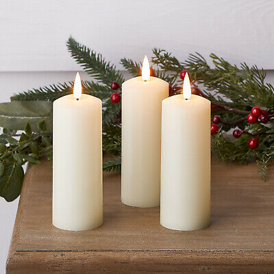 Battery LED Flameless Skinny Pillar Candles TruGlow™ Ivory Wax Timer Lighs4fun • 22.99£