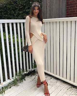 AU323.08 • Buy NWOT Sir The Label Selena Cutout Ribbed-knit Midi Dress Cream/Black 0 1 2