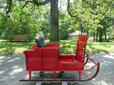 $1500 • Buy Christmas Wintertime Holiday Antique Horse Drawn Red Sleigh Leather Bench