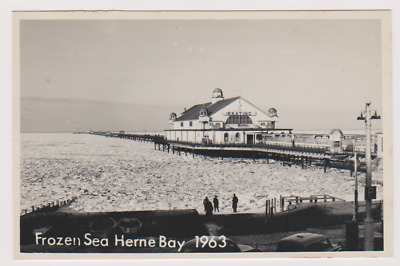 Herne Bay - Frozen Sea - Pier - 1963 - Postcard - Rp - Kent • 7£