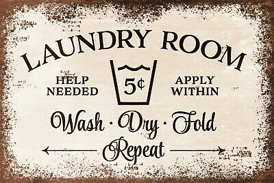 Laundry Room Plaque Vintage Style Retro Metal Sign, Washing Clothes, Laundrette • 6.99£