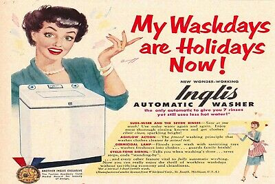 Automatic Washing Machine Advert Vintage Style Retro Metal Sign, Funny, Laundry • 6.99£