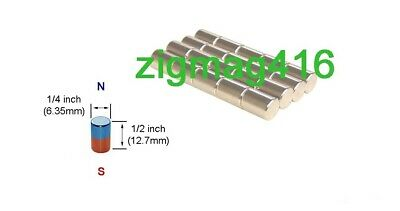 $ CDN8.50 • Buy D1/4  X 1/2  Thick, N52, Rare Earth, Neodymium Cylinder Magnet - Pack Of 10