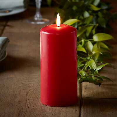 Battery LED Flameless Pillar Candle TruGlow™ Red Wax 6h Timer 15cm Lights4fun  • 15.99£