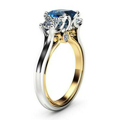 AU3.77 • Buy Elegant Rings For Women Blue Sapphire 925 Silver Jewelry Wedding Ring Size 6-10