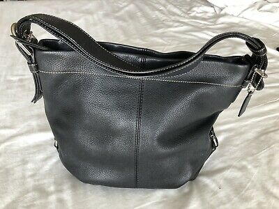 $ CDN53.17 • Buy Coach Handbags Used Black Leather, Fabric Lining.  Excellent Condition