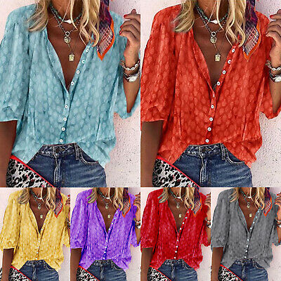 AU17.28 • Buy Womens Summer Tops Button Down Shirt Ladies Holiday V Neck Blouse T Shirt Size