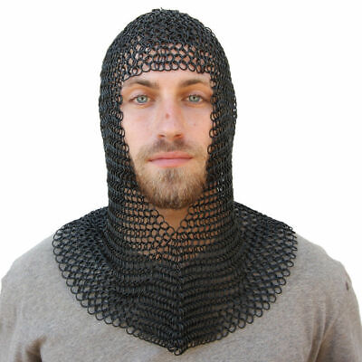 Medieval Knights Butted Steel Chain Mail Coif Head Armor Helmet Liner Costume • 38.50£
