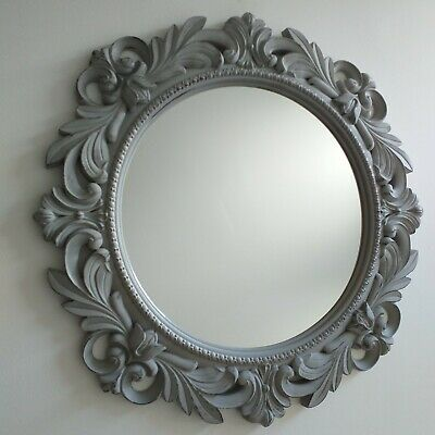 Light Grey Rustic Effect Round Wall Mirror Antique Style Home Decor Wall Mirror • 21.99£