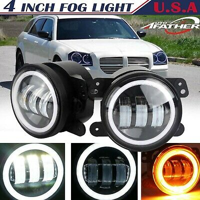 $48.20 • Buy 4  Round LED Fog Light DRL Angel Eye Halo For 2005 2006 2007 2008 Dodge Magnum
