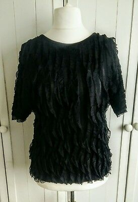 £7.99 • Buy Forever By Michael Gold Black Ruffle Top Size Medium