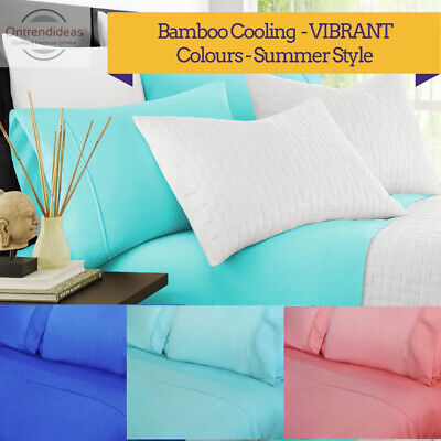 AU39 • Buy 2000TC Bamboo Cooling Sheet Set | Hypo-Allergenic Breathable Summer Sheets