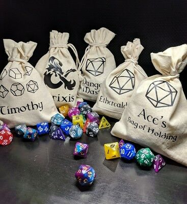 AU12 • Buy Personalised Dice Die Bag D&D Dungeons And Dragons DnD RPG Christmas Gift
