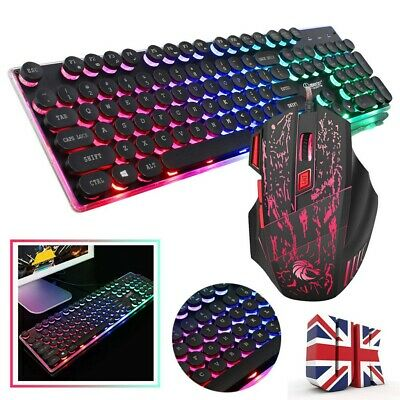 LED Glowing Computer Gaming Keyboard And Mouse Set Wired Mechanical Game Black • 12.95£