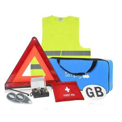 Car Europe Travel Kit 7 Piece Set Triangle Vest GB Plate Bulb & First Aid Kit • 25.99£