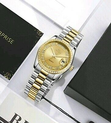 £239.99 • Buy Mens Watch Gold And Silver Analog Dial With Date Free Postage Gift Boxed