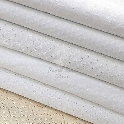 Premium Quality 100% Cotton Broderie Anglaise Embroidered Fabric - Clothing • 10.99£