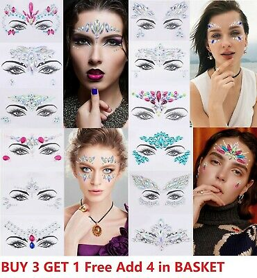 £2.69 • Buy Face Gems Adhesive Glitter Jewel Tattoo Sticker Festival Rave Party Body Make Up