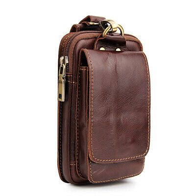 AU37.40 • Buy Mens Belt Pouch Wallet Genuine Leather Cell Phone Holster Fanny Waist Bag Pack
