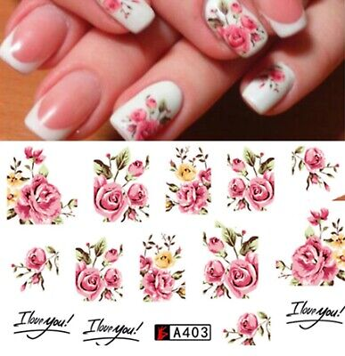 £1.65 • Buy Nail Art Water Decals Stickers Transfers Pink Roses Flowers Gel Polish 403++