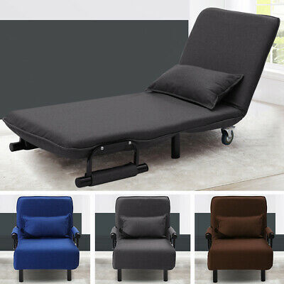 Fold Out Sofa Bed Armchair Guest Single Beds Lounge Chair Adjustable Free Pillow • 139.95£