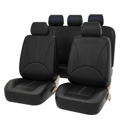 $35.96 • Buy Universal Car Seat Covers 5-Seats Front Rear Full Set PU Leather Accessories BK