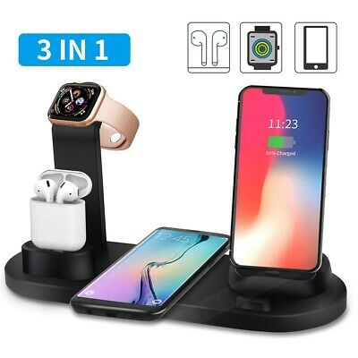 $ CDN12.17 • Buy 3in1Qi Fast Wireless Charging Dock Stand Station For Apple Watch Airpods IPhone