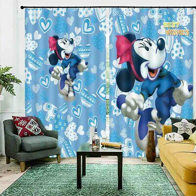 Happy Head Mickey Mouse 3D Curtain Blockout Photo Printing Curtains Drape Fabric • 33.26£
