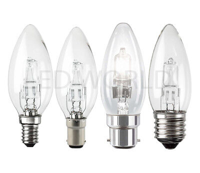 1/2/4/6/10 Pack Halogen Candle Clear Light 18w 28w 42w Watt Bc Sbc Es Ses Bulbs • 11.99£
