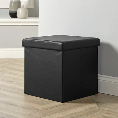 Folding Ottoman Black Faux Leather Chest Solid Sturdy Storage Space Saving Box • 11.99£