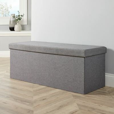 Extra Large Folding Ottoman Grey Fabric Chest Sturdy Storage Space Saving Box • 29.99£