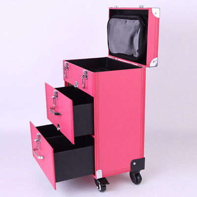 PU Faux Leather Pro Beauty Makeup Case Trolley For Hairdresser Artists New • 69.95£