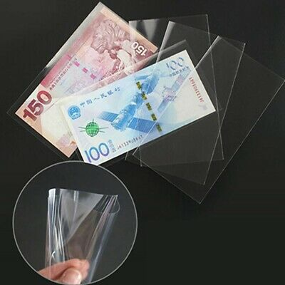 100Pcs Paper Money Stamps Sleeves Clear Banknote Collection Protect Storage BagT • 4.50£