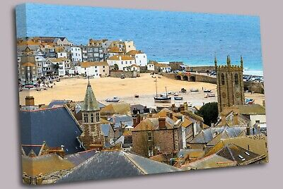 £17.99 • Buy Seaside Village Of St. Ives, Cornwall Canvas Wall Art Picture Print