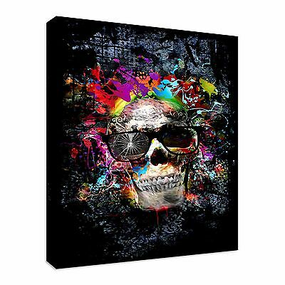 Skull With Glasses,  Canvas Wall Art Picture Print • 17.99£