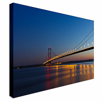 View Of Humber Bridge At Sunset Canvas Wall Art Picture Print • 44.99£
